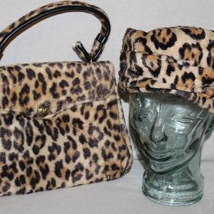 Vintage Cheetah Print Hat & Handbag